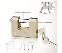 stainless steel armoured padlock