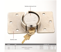 Puck shackleless stainless steel lock with stainless steel hasps